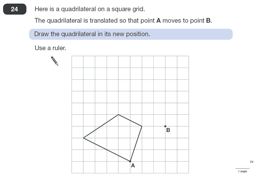Question 24 Maths KS2 SATs Papers 2010 - Year 6 Past Paper 1, Geometry, 2D shapes, Translations