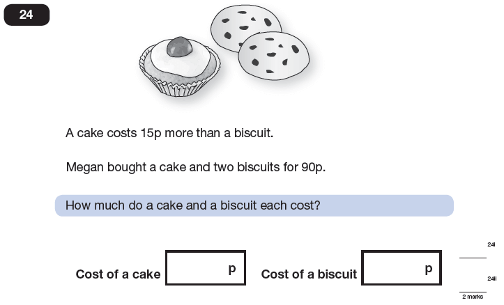 Question 24 Maths KS2 SATs Papers 2013 - Year 6 Exam Paper 1, Numbers, Word Problems, Algebra, Simultaneous Equations
