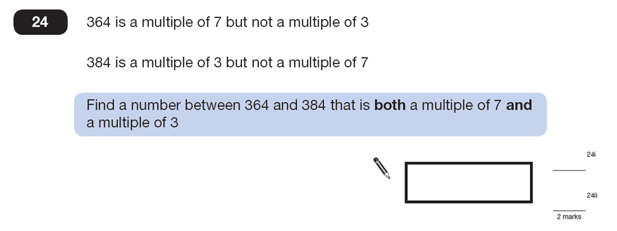Question 24 Maths KS2 SATs Papers 2013 - Year 6 Exam Paper 2, Numbers, Multiples