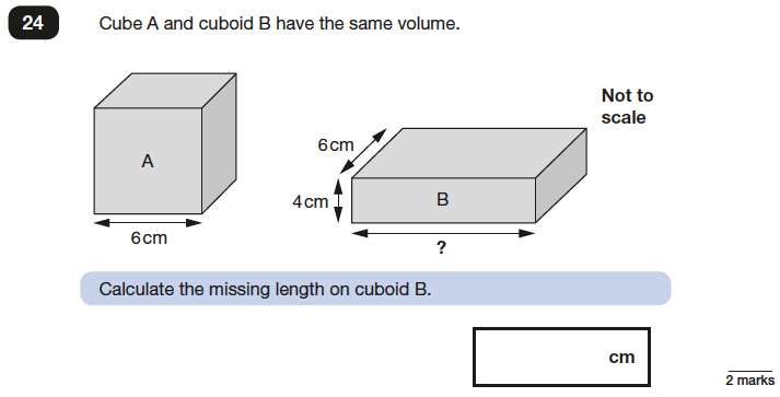 Question 24 Maths KS2 SATs Papers 2017 - Year 6 Exam Paper 3 Reasoning, Geometry, Cubes and Cuboids, Volume