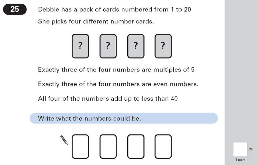 Question 25 Maths KS2 SATs Papers 2003 - Year 6 Exam Paper 1, Numbers, Addition, Multiples, Even and odd Numbers
