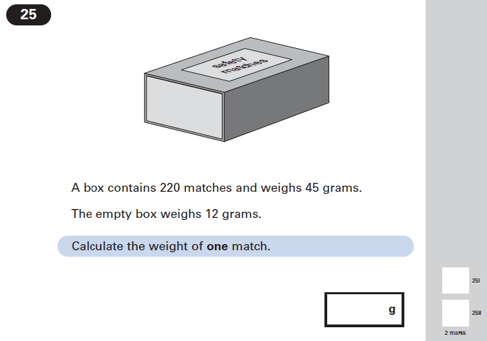 Question 25 Maths KS2 SATs Papers 2005 - Year 6 Practice Paper 2, Numbers, Word Problems, Algebra, Linear Equations