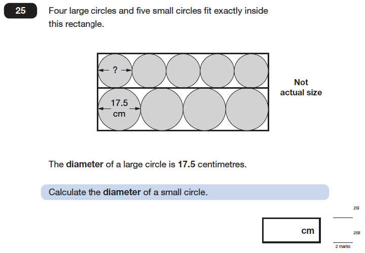 Question 25 Maths KS2 SATs Papers 2006 - Year 6 Practice Paper 2, Geometry, Circle, Ratio & Proportion
