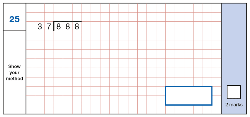 Question 25 Maths KS2 SATs Papers 2019 - Year 6 Practice Paper 1 Arithmetic, Numbers, Division