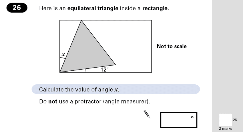 Question 26 Maths KS2 SATs Papers 2001 - Year 6 Past Paper 2, Geometry, Angles, Triangles, Rectangle