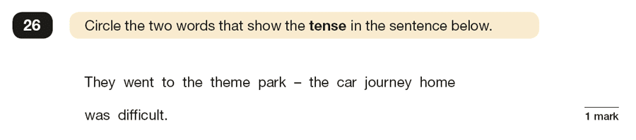 Question 26 SPaG KS2 SATs Papers 2016 - Year 6 English Past Paper 1, Verb forms, tenses and consistency