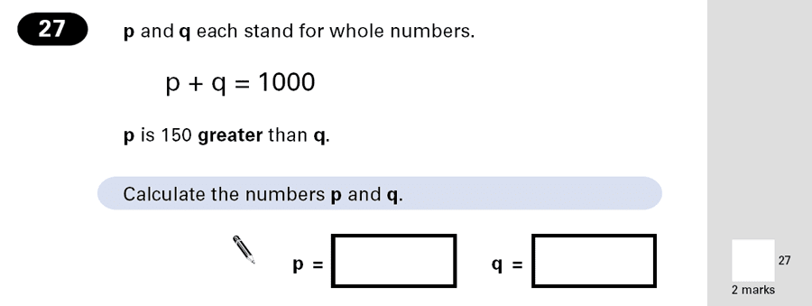 Question 27 Maths KS2 SATs Papers 2001 - Year 6 Sample Paper 2, Algebra, Algebra Dependent Problems, Linear Equations