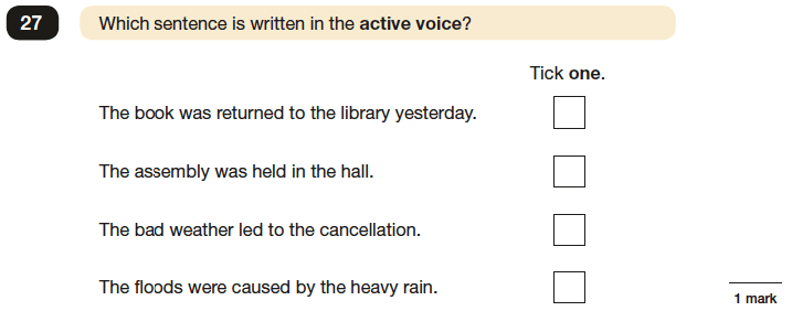 Question 27 SPaG KS2 SATs Papers 2016 - Year 6 English Practice Paper 1, Verb forms, tenses and consistency