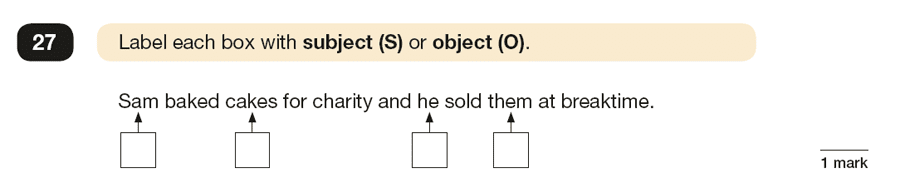 Question 27 SPaG KS2 SATs Papers 2019 - Year 6 English Past Paper 1, Grammatical terms / word classes