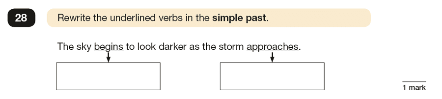Question 28 SPaG KS2 SATs Papers 2019 - Year 6 English Sample Paper 1, Verb forms, tenses and consistency