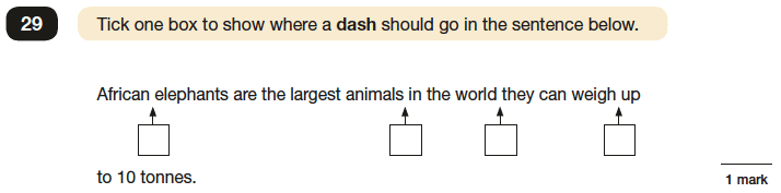 Question 29 SPaG KS2 SATs Papers 2016 - Year 6 English Test Paper 1, Punctuation