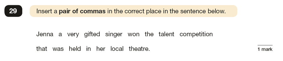 Question 29 SPaG KS2 SATs Papers 2017 - Year 6 English Practice Paper 1, Punctuation