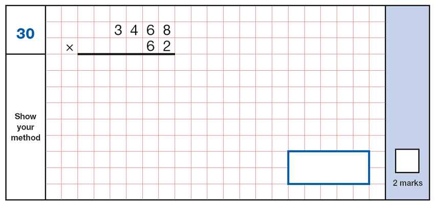 Question 30 Maths KS2 SATs Papers 2019 - Year 6 Sample Paper 1 Arithmetic, Numbers, Multiplication