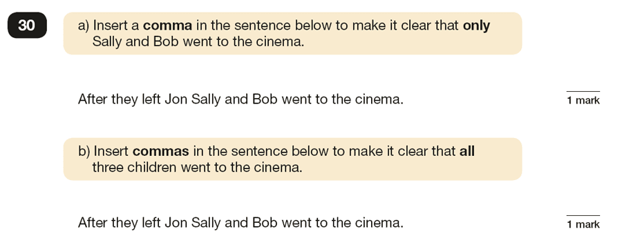 Question 30 SPaG KS2 SATs Papers 2016 - Year 6 English Past Paper 1, Punctuation
