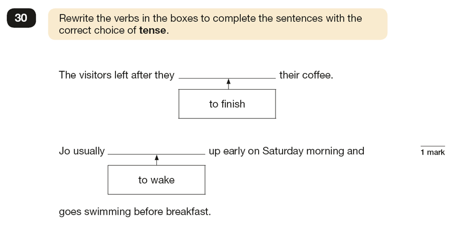 Question 30 SPaG KS2 SATs Papers 2017 - Year 6 English Past Paper 1, Verb forms, tenses and consistency