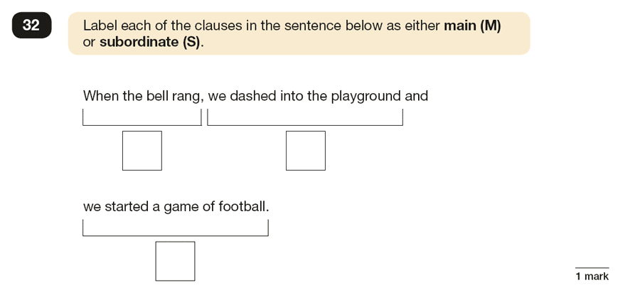 Question 32 SPaG KS2 SATs Papers 2017 - Year 6 English Exam Paper 1, Combining words, phrases and clauses