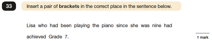 Question 33 SPaG KS2 SATs Papers 2016 - Year 6 English Past Paper 1, Punctuation