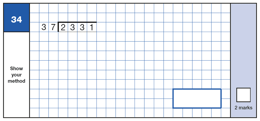 Question 34 Maths KS2 SATs Papers 2016 - Year 6 Exam Paper 1 Arithmetic, Numbers, Division