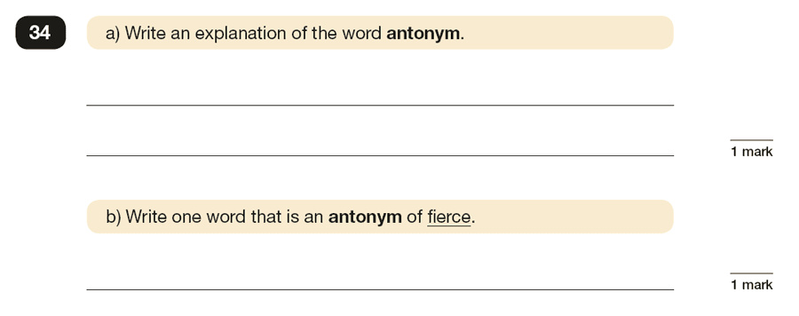 Question 34 SPaG KS2 SATs Papers 2016 - Year 6 English Past Paper 1, Vocabulary