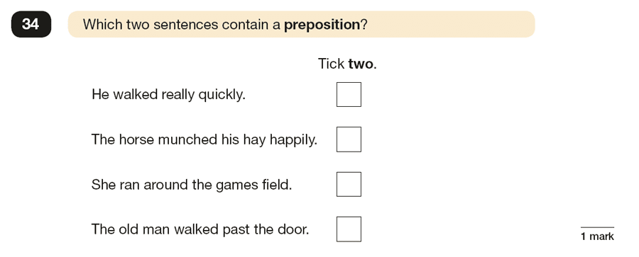 Question 34 SPaG KS2 SATs Papers 2017 - Year 6 English Past Paper 1, Grammatical terms / word classes