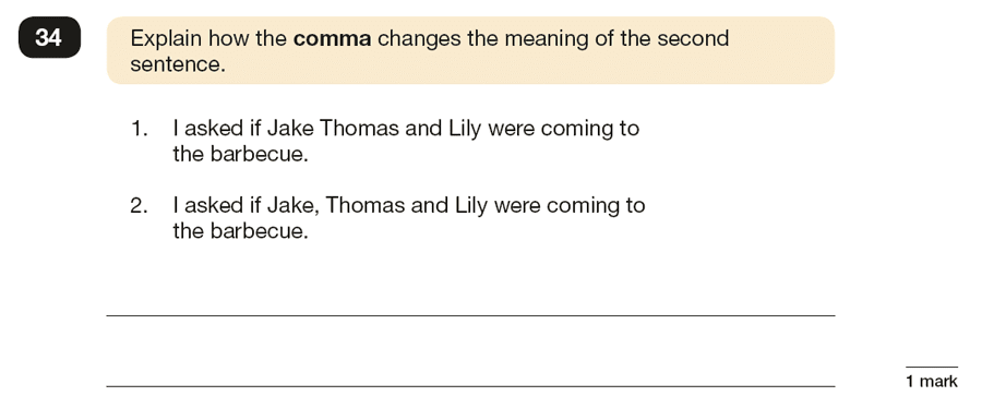 Question 34 SPaG KS2 SATs Papers 2019 - Year 6 English Practice Paper 1, Punctuation