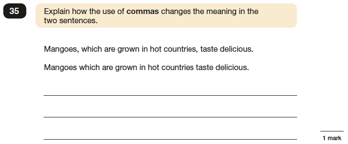 Question 35 SPaG KS2 SATs Papers 2016 - Year 6 English Exam Paper 1, Punctuation
