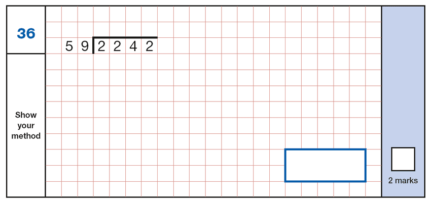 Question 36 Maths KS2 SATs Papers 2017 - Year 6 Practice Paper 1 Arithmetic, Numbers, Division