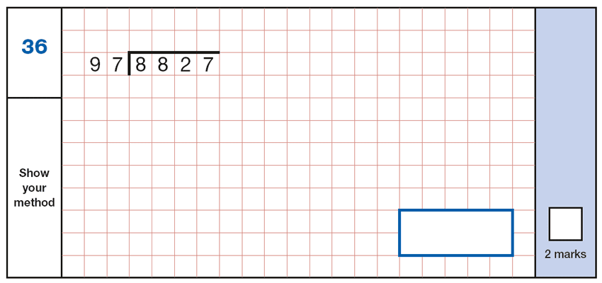 Question 36 Maths KS2 SATs Papers 2018 - Year 6 Practice Paper 1 Arithmetic, Numbers, Division