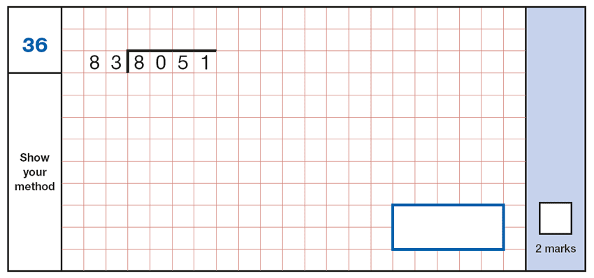 Question 36 Maths KS2 SATs Papers 2019 - Year 6 Practice Paper 1 Arithmetic, Numbers, Division