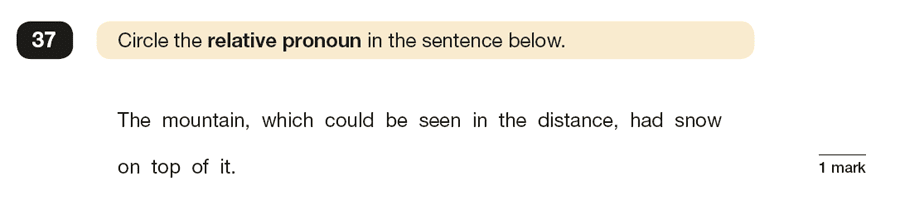 Question 37 SPaG KS2 SATs Papers 2017 - Year 6 English Practice Paper 1, Grammatical terms / word classes