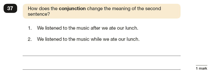 Question 37 SPaG KS2 SATs Papers 2019 - Year 6 English Exam Paper 1, Grammatical terms / word classes