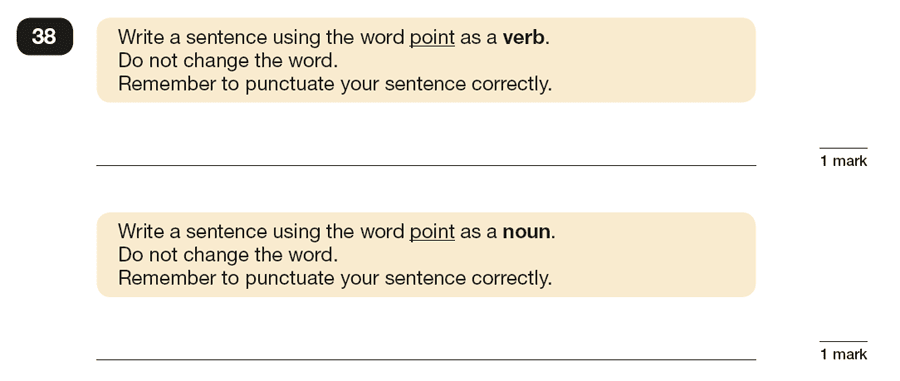 Question 38 SPaG KS2 SATs Papers 2016 - Year 6 English Past Paper 1, Grammatical terms / word classes