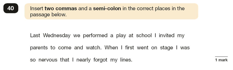 Question 40 SPaG KS2 SATs Papers 2019 - Year 6 English Sample Paper 1, Punctuation