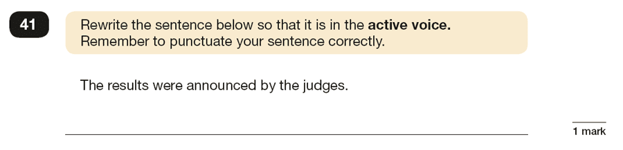 Question 41 SPaG KS2 SATs Papers 2016 - Year 6 English Practice Paper 1, Verb forms, tenses and consistency