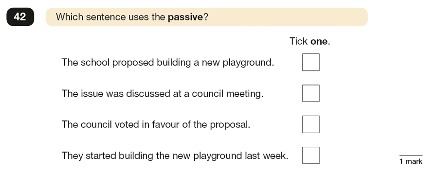 Question 42 SPaG KS2 SATs Papers 2019 - Year 6 English Practice Paper 1, Verb forms, tenses and consistency