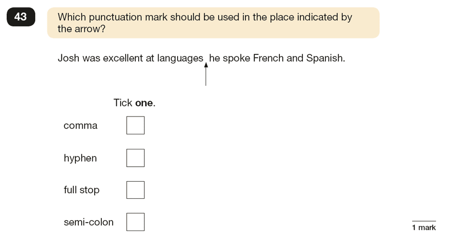 Question 43 SPaG KS2 SATs Papers 2017 - Year 6 English Sample Paper 1, Punctuation