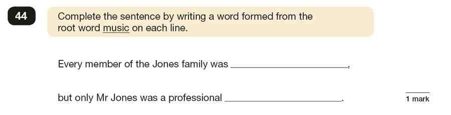 Question 44 SPaG KS2 SATs Papers 2019 - Year 6 English Sample Paper 1, Vocabulary