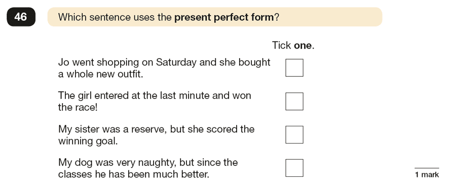 Question 46 SPaG KS2 SATs Papers 2016 - Year 6 English Past Paper 1, Verb forms, tenses and consistency