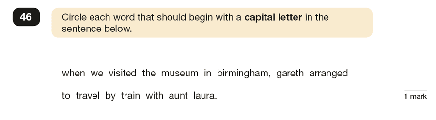 Question 46 SPaG KS2 SATs Papers 2019 - Year 6 English Practice Paper 1, Punctuation