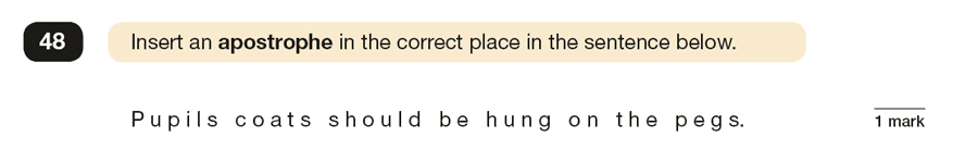 Question 48 SPaG KS2 SATs Papers 2019 - Year 6 English Sample Paper 1, Punctuation