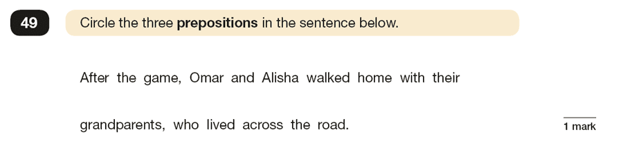 Question 49 SPaG KS2 SATs Papers 2019 - Year 6 English Exam Paper 1, Grammatical terms / word classes