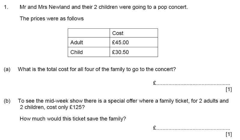 Aldenham School - 11+ Maths Sample Paper 2019 Question 01, Numbers, Percentages, Word Problems, Algebra, Money