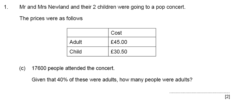 Aldenham School - 11+ Maths Sample Paper 2019 Question 02, Numbers, Percentages, Word Problems, Algebra, Money