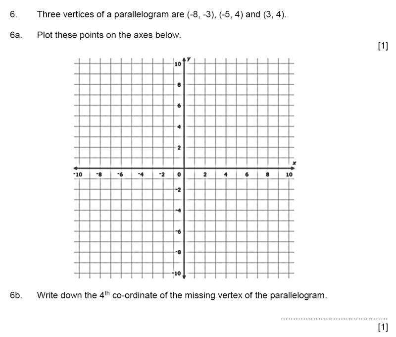 Aldenham School - 11+ Maths Sample Paper 2019 Question 07, Geometry, Coordinates, 2D Shapes