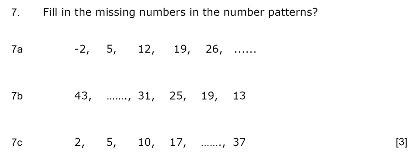 Aldenham School - 11+ Maths Sample Paper 2019 Question 08, Number Patterns and Sequences