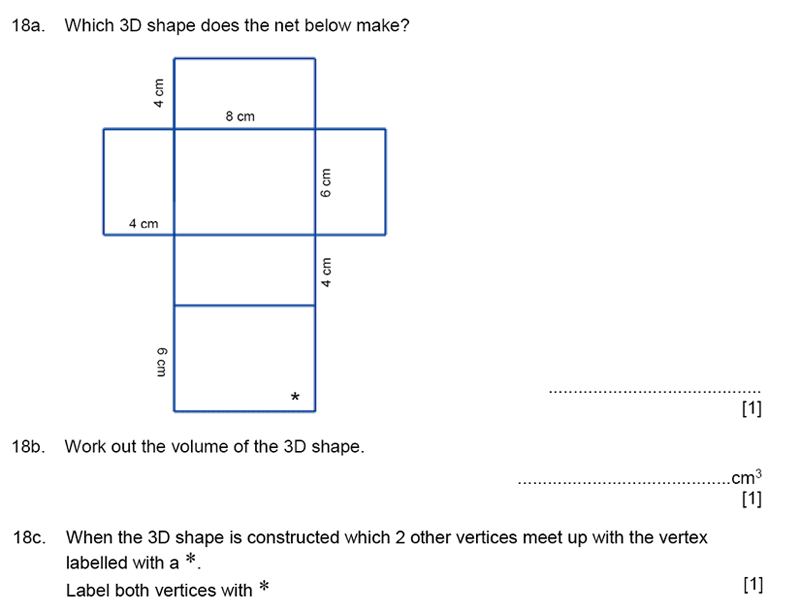 Aldenham School - 11+ Maths Sample Paper 2019 Question 20, Geometry, 3D Shapes, Volume, Cubes and Cuboids, Logical Problems