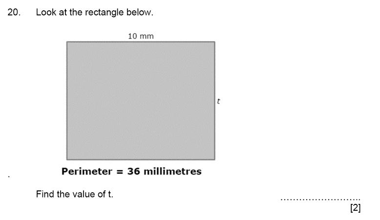 Aldenham School - 11+ Maths Sample Paper 2019 Question 22, Geometry, Area & Perimeter, Rectangle