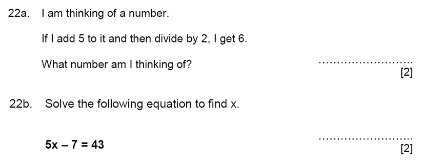 Aldenham School - 11+ Maths Sample Paper 2019 Question 24, Numbers, Word Problems, Algebra, Linear Equations, Logical Problems