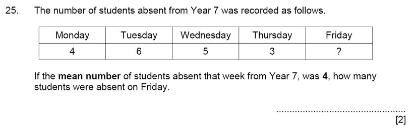 Aldenham School - 11+ Maths Sample Paper 2019 Question 27, Numbers, Word Problems, Statistics, Mean Median Mode Range