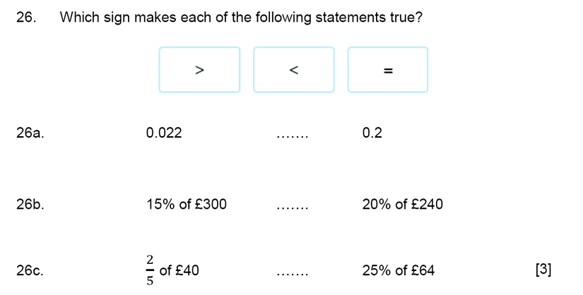 Aldenham School - 11+ Maths Sample Paper 2019 Question 28, Numbers, Order and Compare Numbers, Decimals, Fractions, Percentages